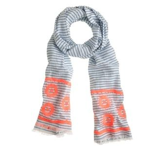 J. Crew Floral Embroidered Striped Scarf